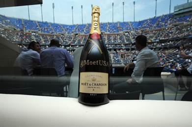 A crystalized bottle of Moët & Chandon Impérial Champagne in the Moët & Chandon Suite at the 2013 US Open.