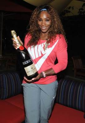 Serena Williams celebrates her 2013 US Open win with Moët & Chandon, the official champagne of the US Open.