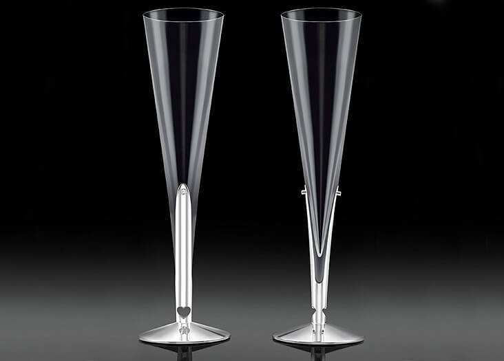 Dartington Diamond, Silver and Crystal Champagne Flutes