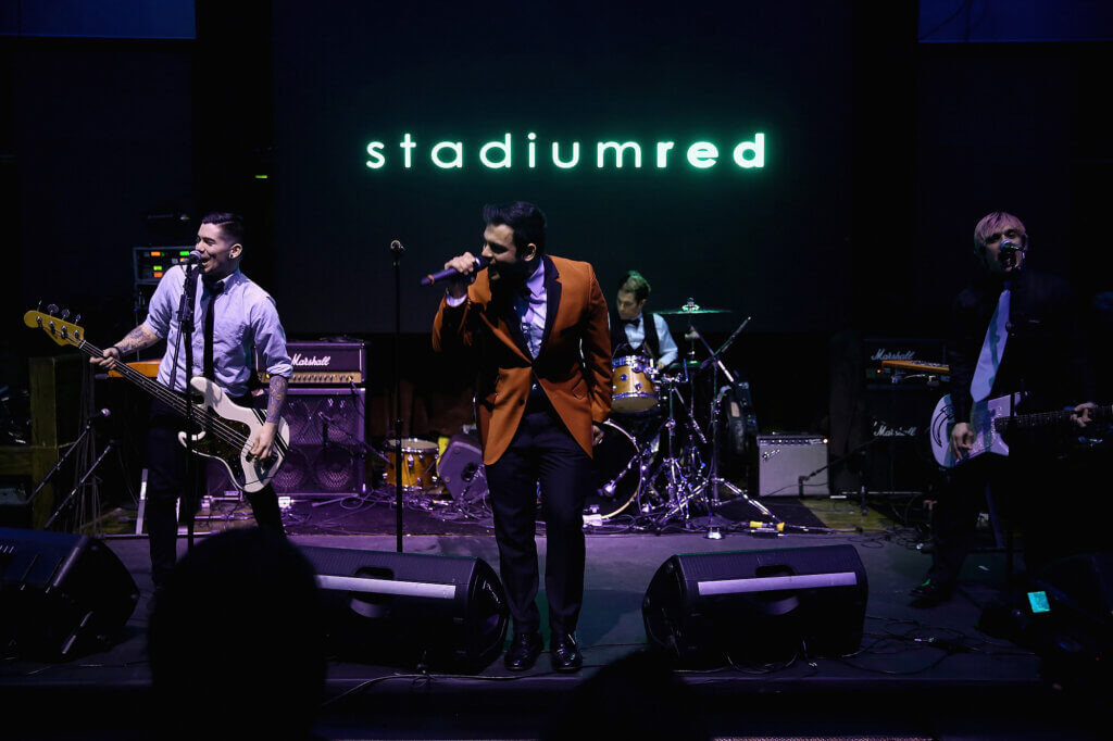 Joe Ragosta, Anthony Mingoia, Marc Kantor, Rob Felicetti, and Corey DeVincenzo of Patent Pending perform on stage at the GREY GOOSE and Stadiumred New York VIP Grammy Awards Party on February 8, 2015 in New York City