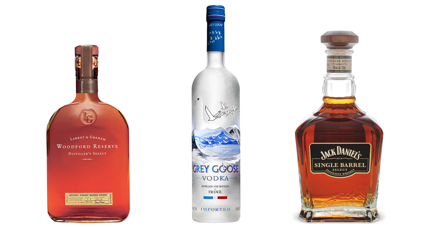 Woodford Reserve, Grey Goose and Jack Danie's Single Barrel