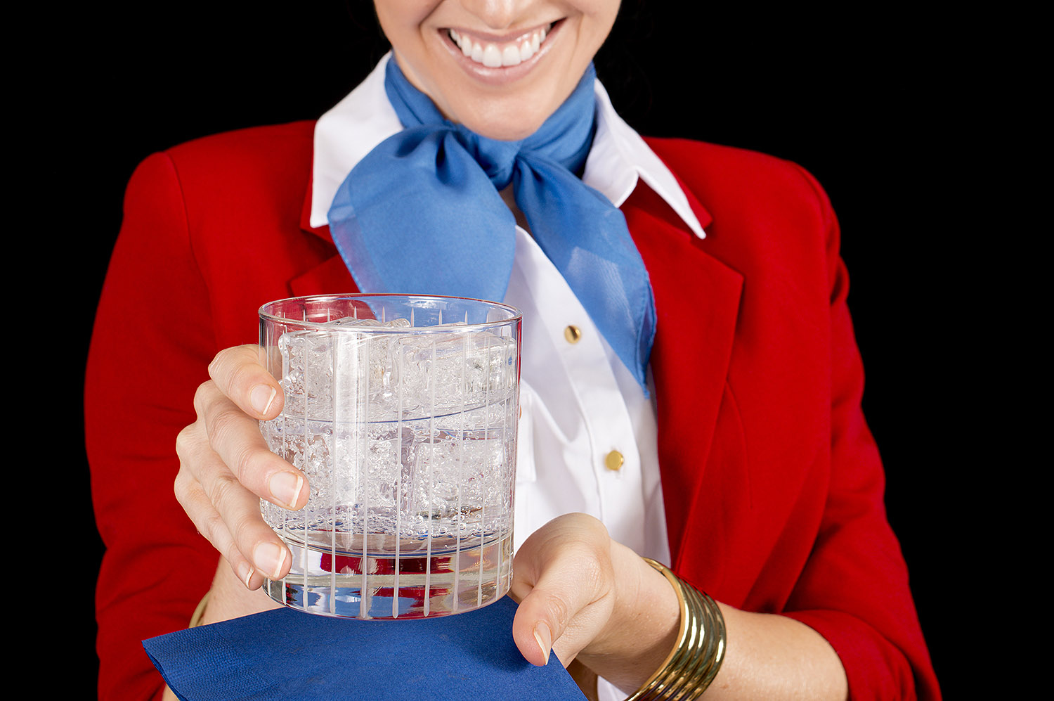 Flight Attendant with Cocktail