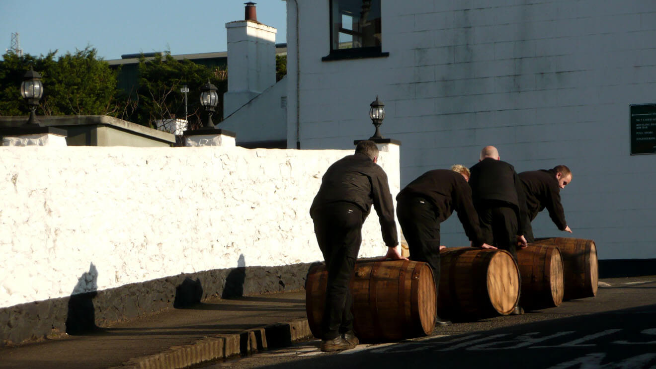 Rolling Barrels at Bushmills Distillery