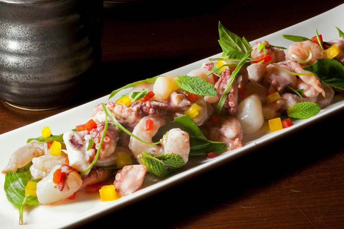 Guinea Pepper Ceviche octopus, shrimp, bay scallops, citrus ginger marinade