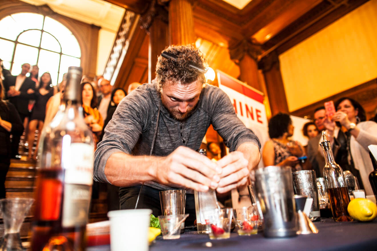 Hunter Pence Mixing a Cocktail