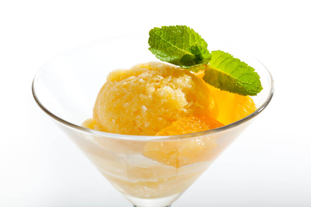 Spiced Rum Peach Lemonade Sorbet