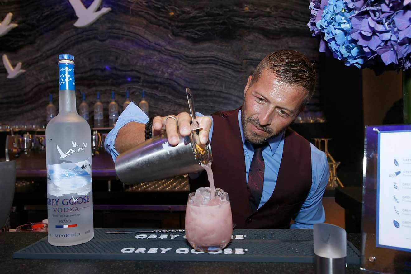 GREY GOOSE's Guillaume Jubien creating the GREY GOOSE High Five Cocktail at the Body at ESPY's Pre-Party.