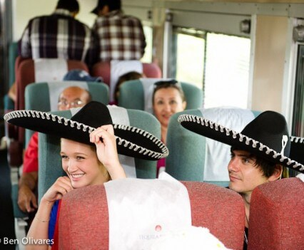 Tequila Express Smiling Couple in Sombreros