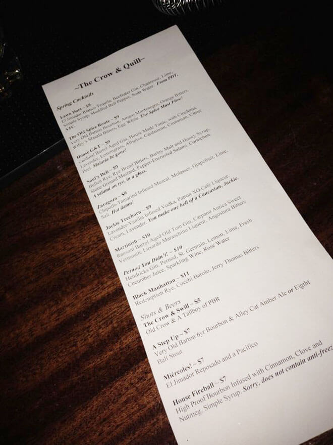 Crow & Quill Cocktail Menu