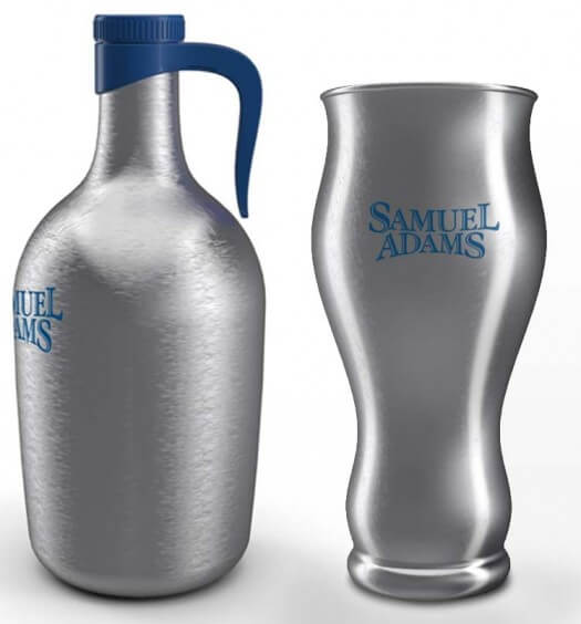Stainless Steel Beer Growler and Sam Adams Perfect Pint