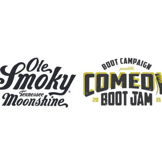 Ole Smoky Moonshine is the Official Spirits Sponsor of Comedy Boot Jam, logos