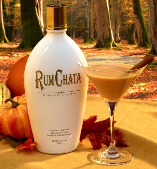 A RumChata Thanksgiving, bottle and martini with pumpkins