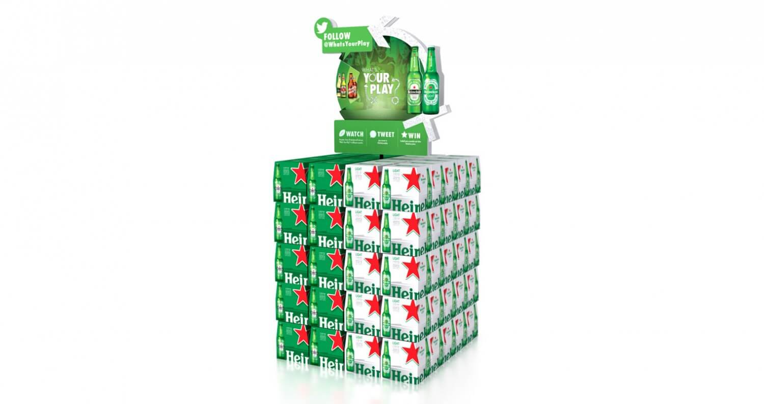 Heineken What's Your Play campaign boxes display