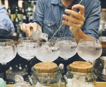 Bulldog Modern Gin & Tonic Competition, pouring over barspoon