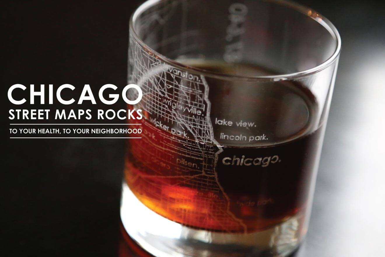 Uncommon Green Glassware - Chicago Map Rocks Glass