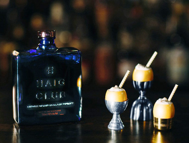 Golden Goose Fizz cocktail with haig club whiskey