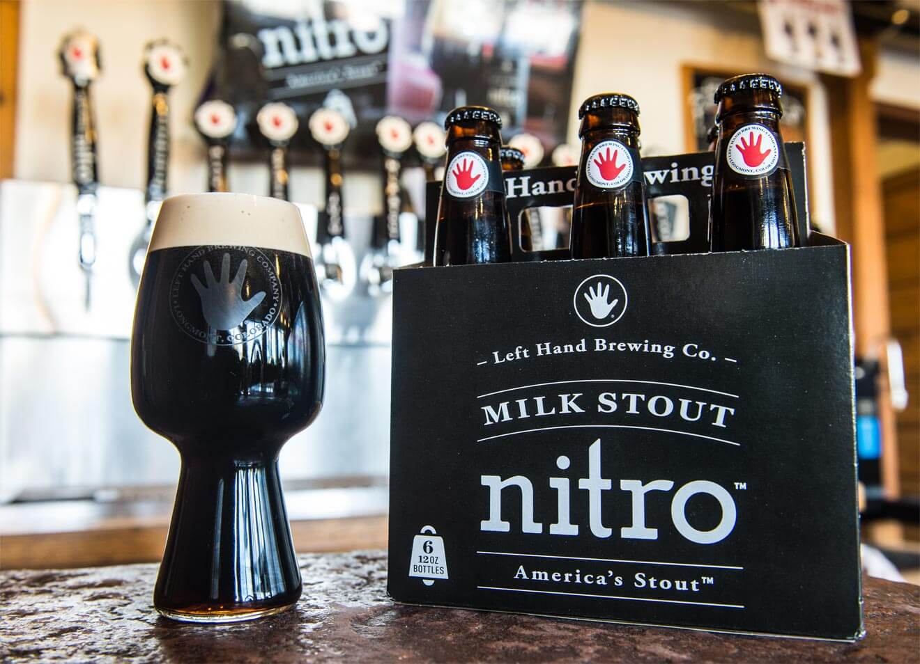 Milk Stout Nitro Draft Pour and 6 Pack Bottles