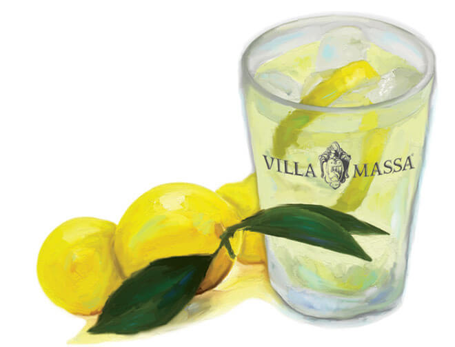 Villa Massa Cocktail with Lemons Illustration, what's chilling right now
