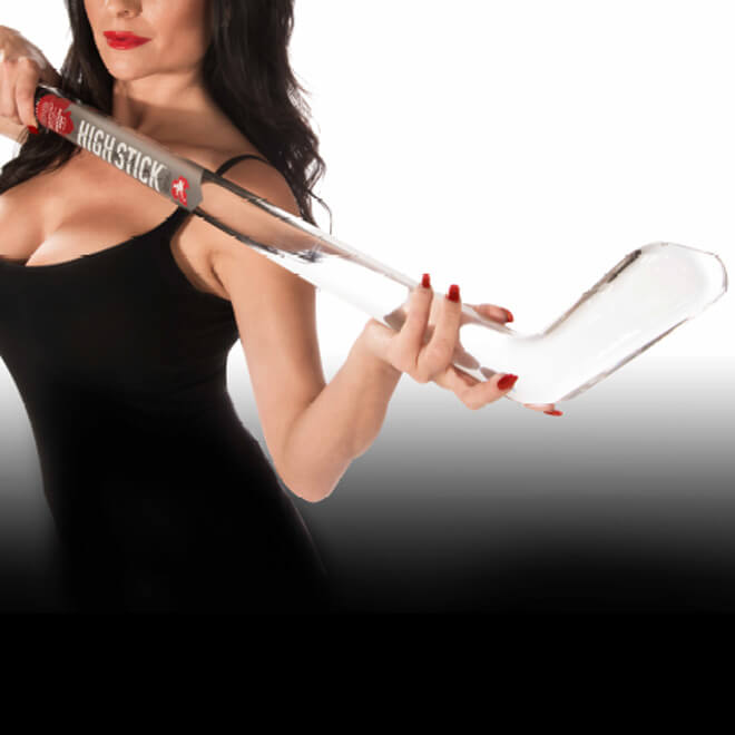 High Stick ultra premium canadian vodka, packaged in a hand blown glass hockey stick, featured brands