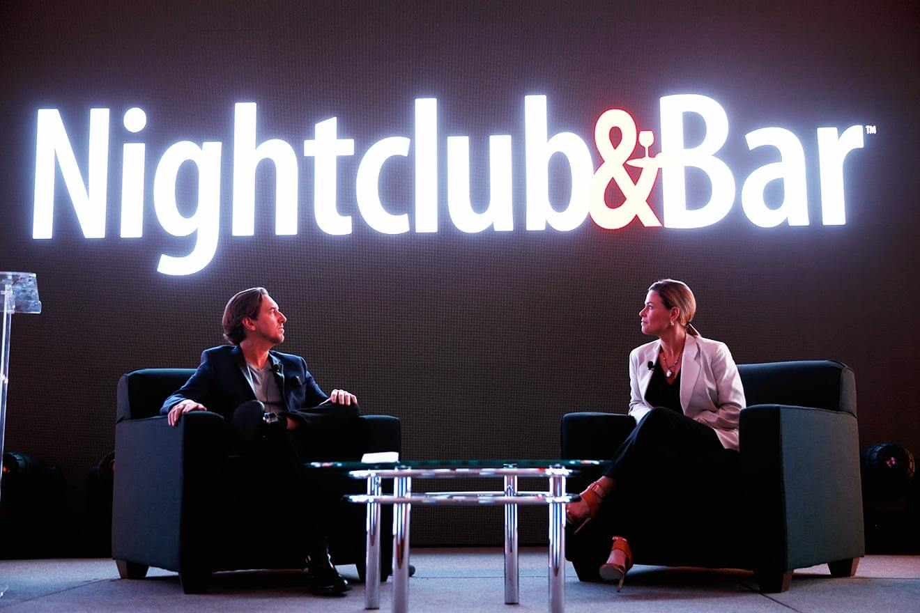 Principal of Bar Magic Tobin Ellis and chef Cat Cora speak onstage during the 31st Annual Nightclub & Bar Convention And Trade Show