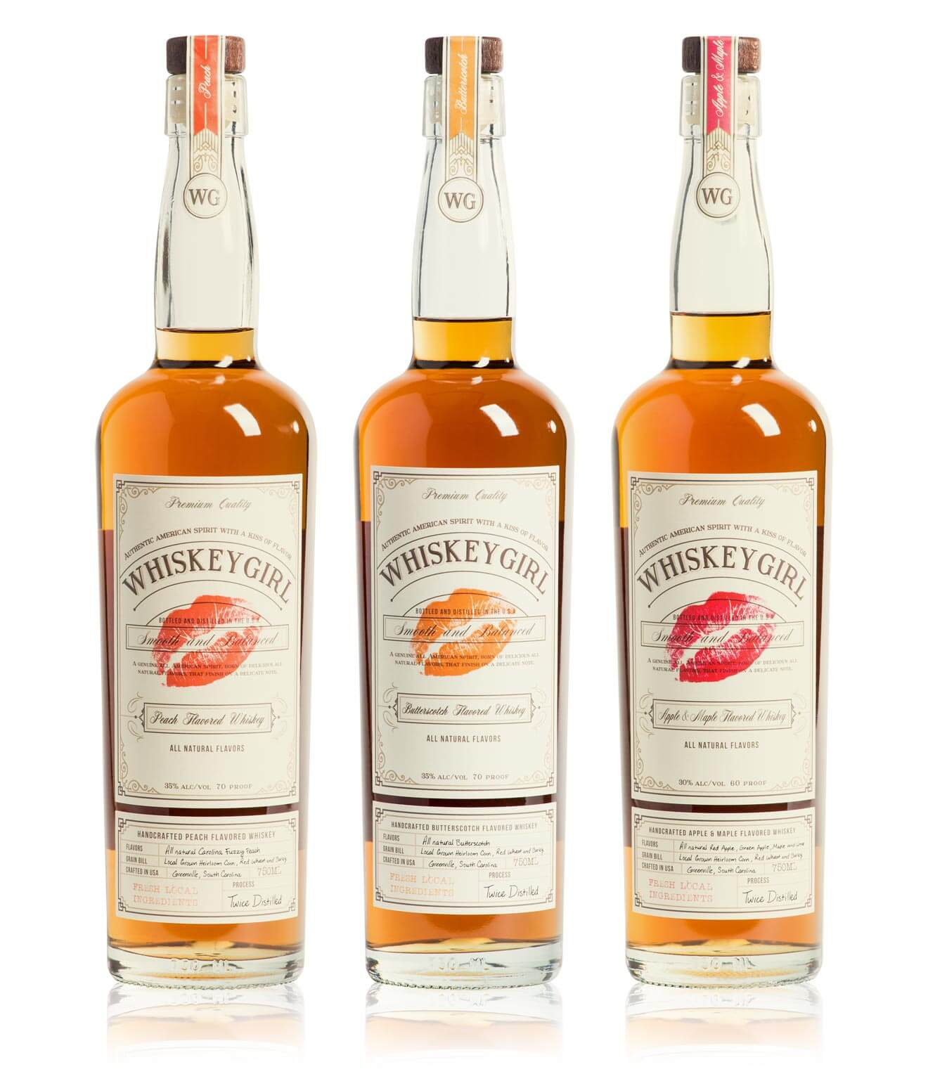Various flavors of Whiskey Girl whiskies, bottles, what's chilling right now