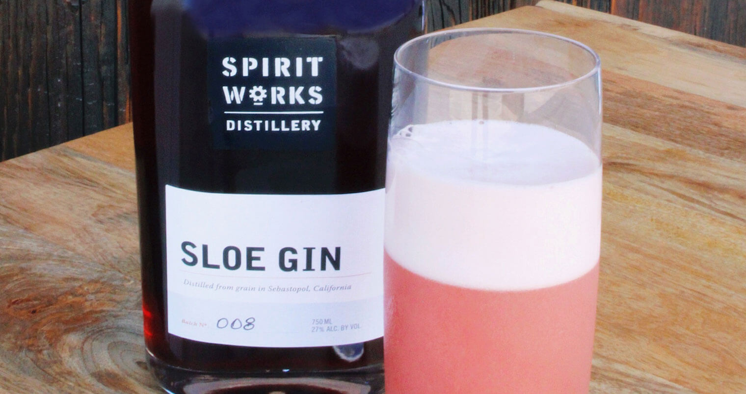 Spirit Works Distillery Sloe Gin Fizz, cocktail recipes, sprit works distillery, featured image