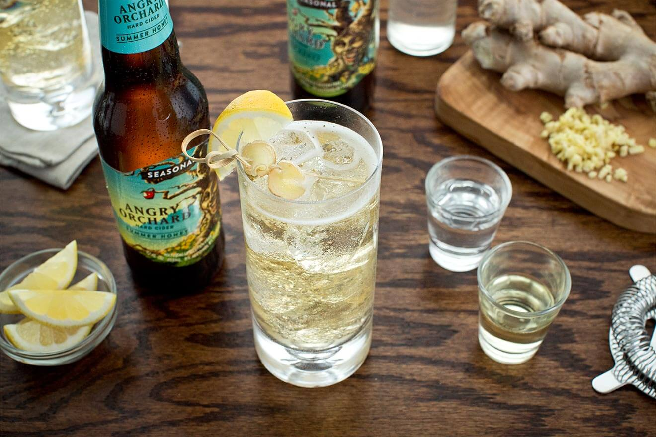 Angry Honey Bee cocktail made with angry orchard hard cider, cocktails