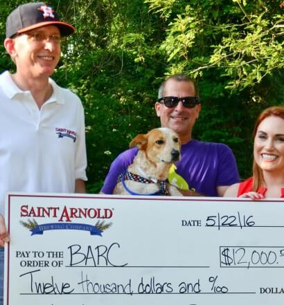 Saint Arnold Ale Wagger Initiative Presents Donation to BARC Animal Shelter and Adoptions, featured image