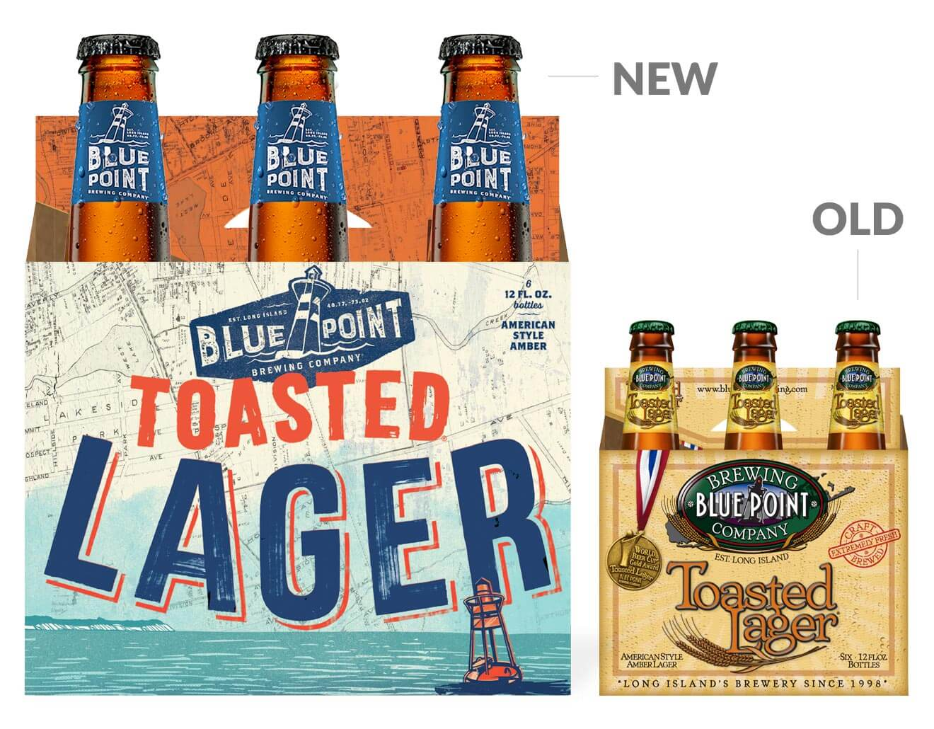 Blue Point Brewing Co. 6-Pack Package Design, Old and New