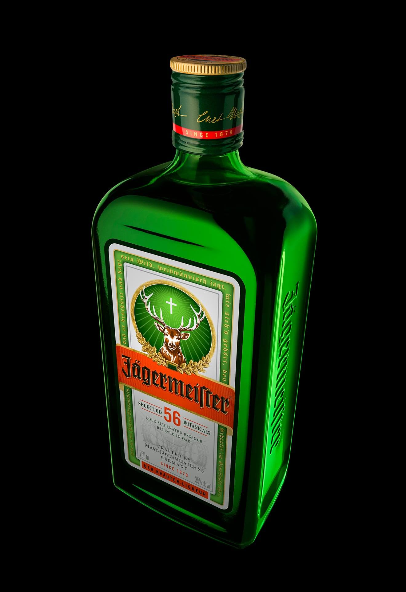 Jägermeister Introduces New Bottle Design, top and shoulders view, new cap