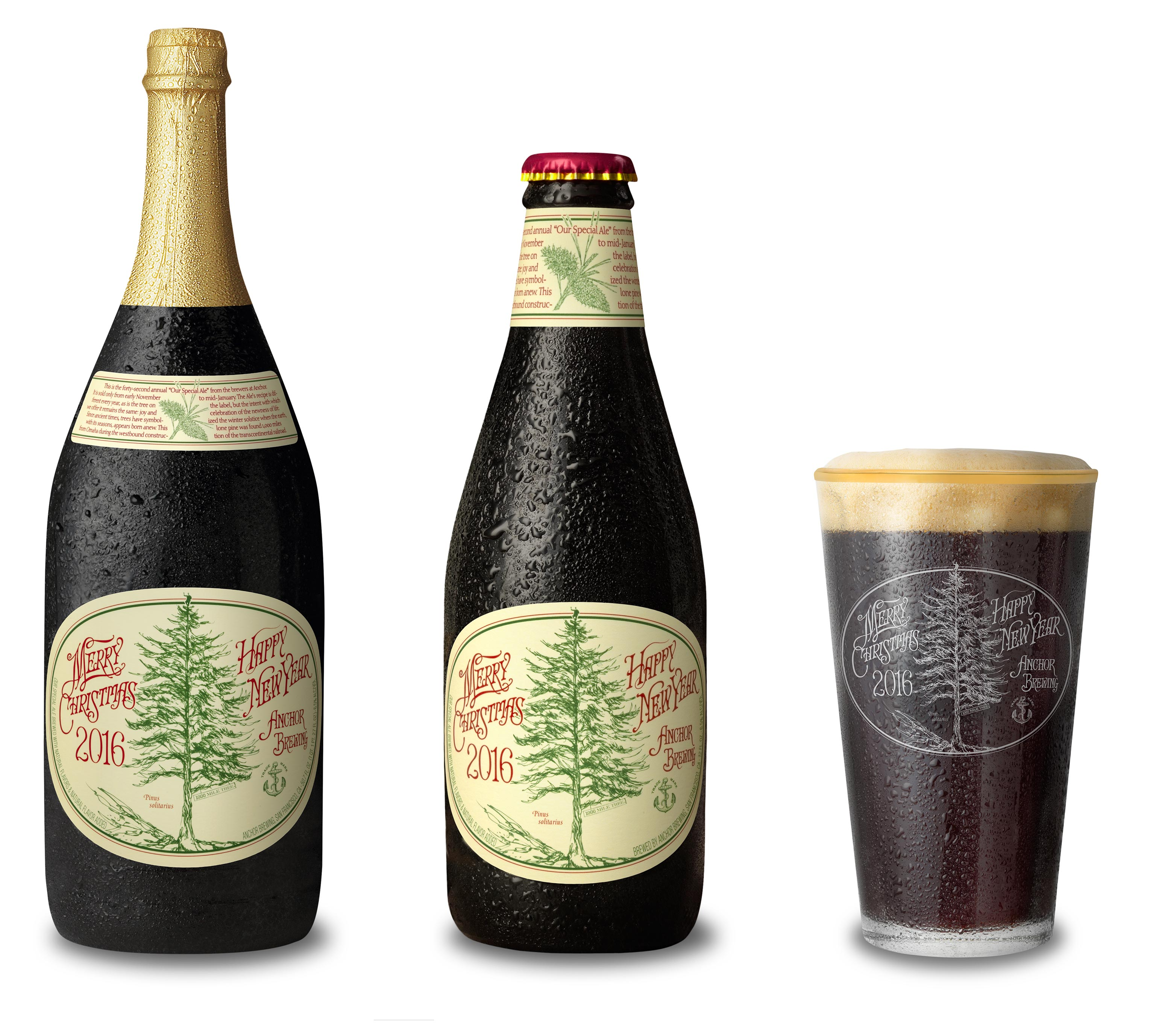 anchor brewing company 42nd annual christmas ale bottles and pint - Anchor Brewing Christmas Ale