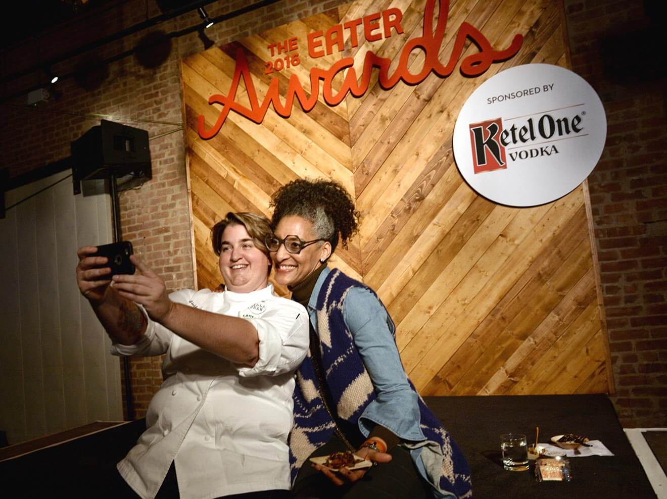 Carla Hall Poses with a 2016 Eater Awards Honoree
