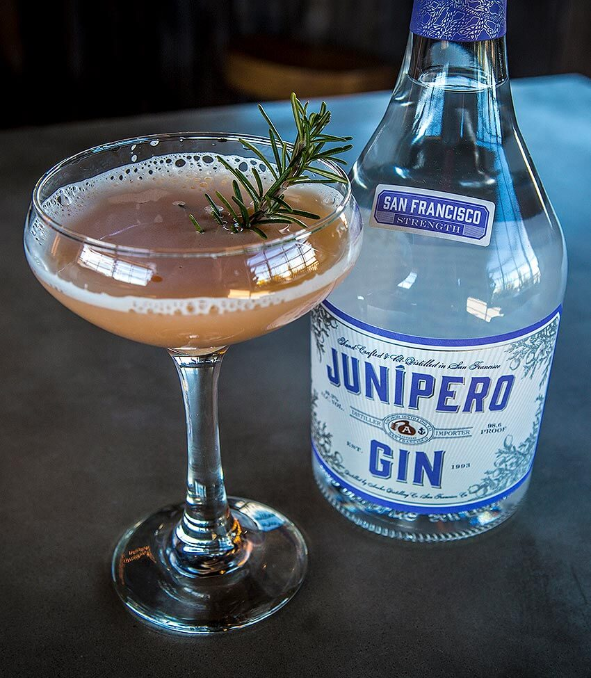 Rosemary's Chances and Junipero Gin bottle, Tooker Alley's in Del Pedro