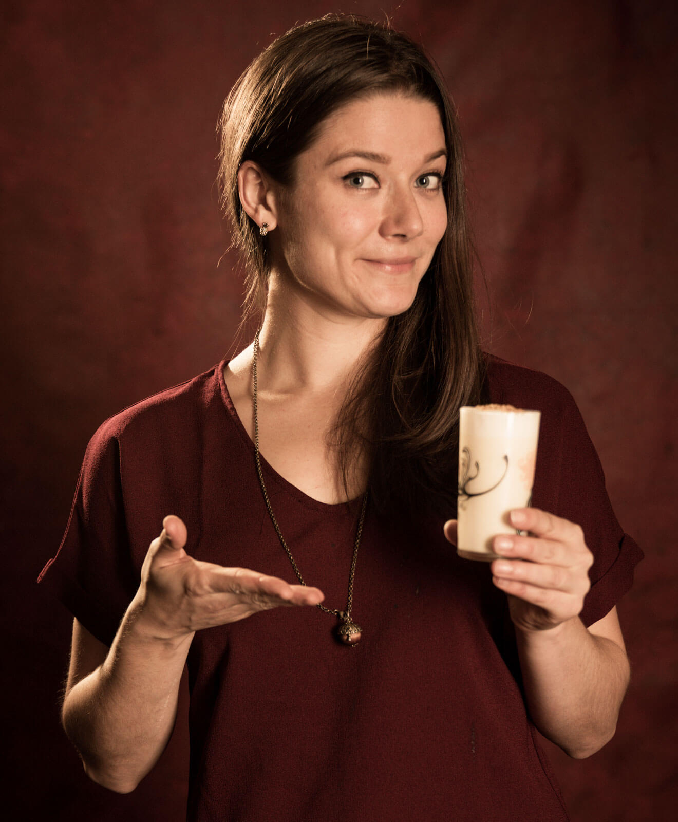Stefanie Bair and her signature cocktail, The Colonel in the Kitchen