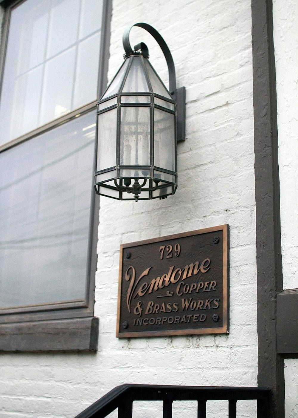 Vendome Copper and Brass Works Exterior Signage