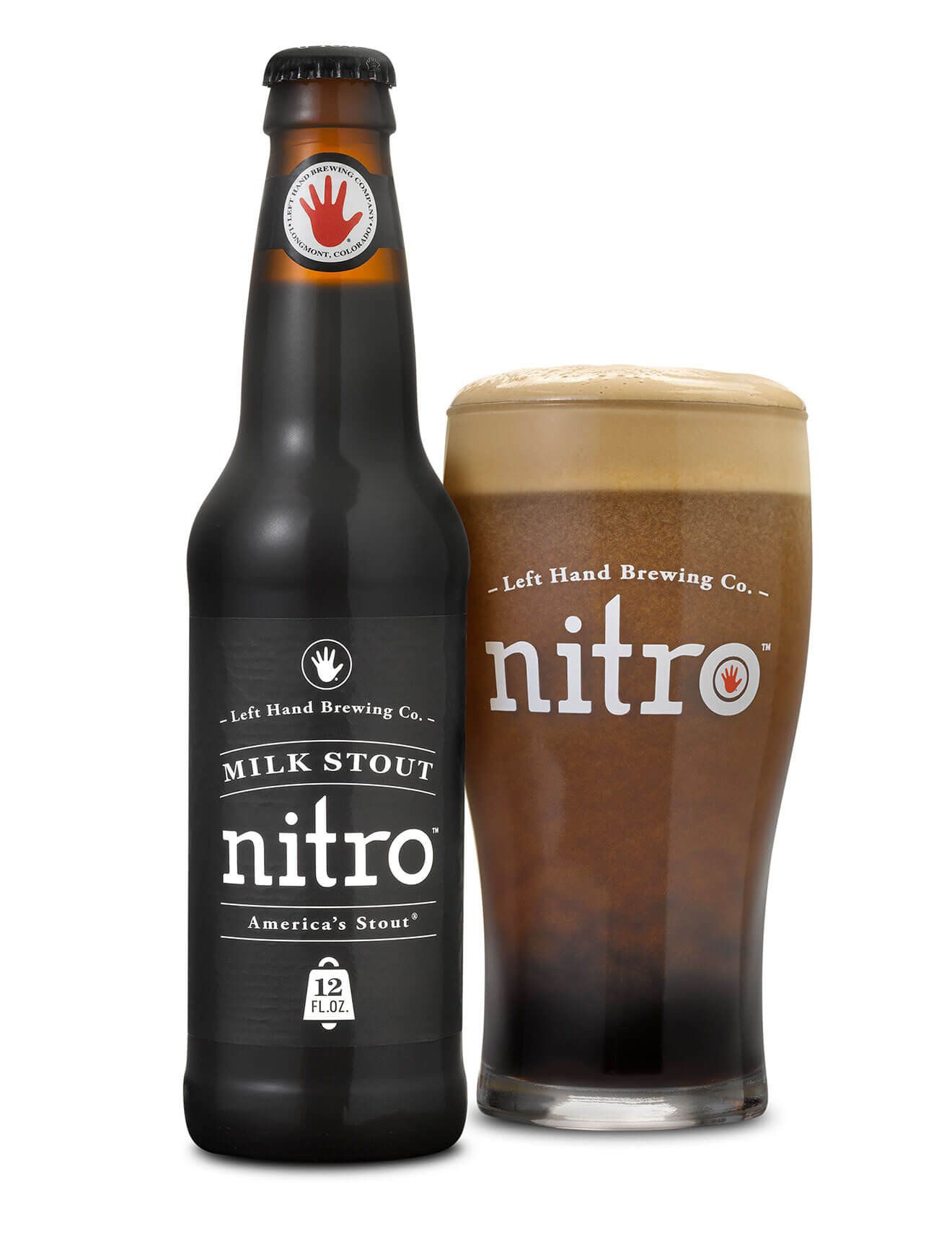 Milk Stout Nitro Bottle and Glass