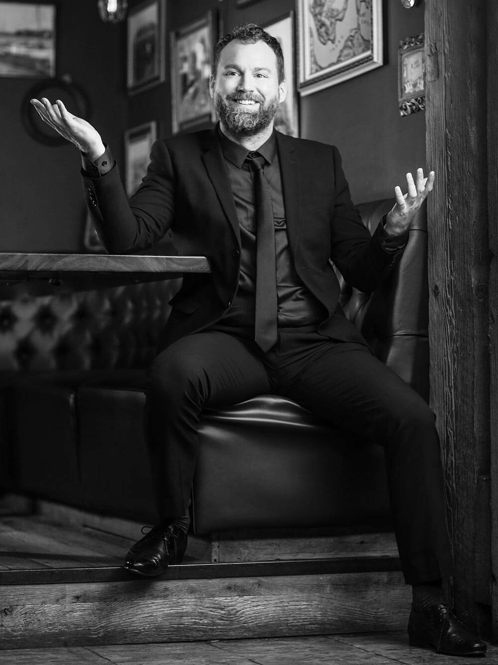 Chillin' with Patrick Gilmore, black and white smiling