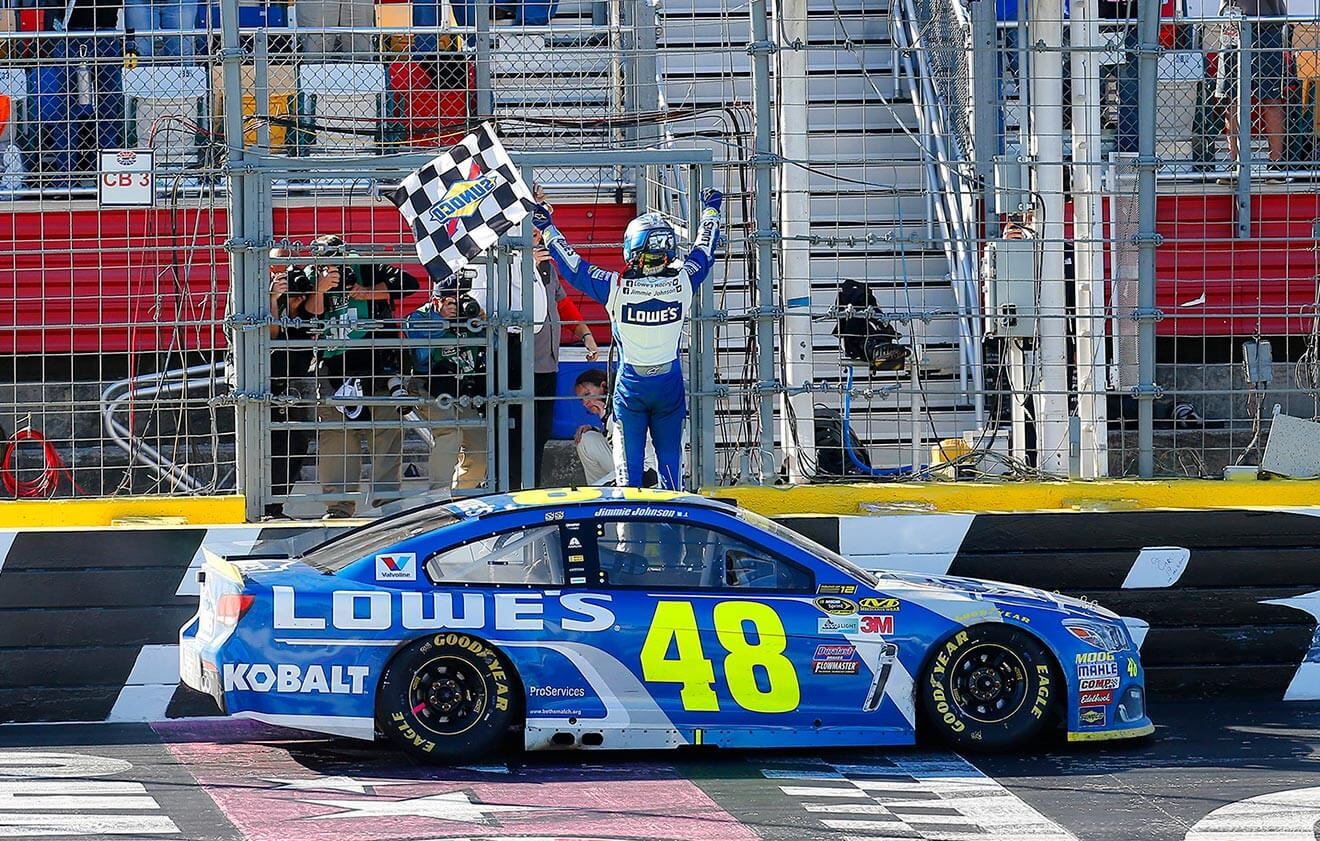 Jimmie-Johnson-car-crossing-finish-line