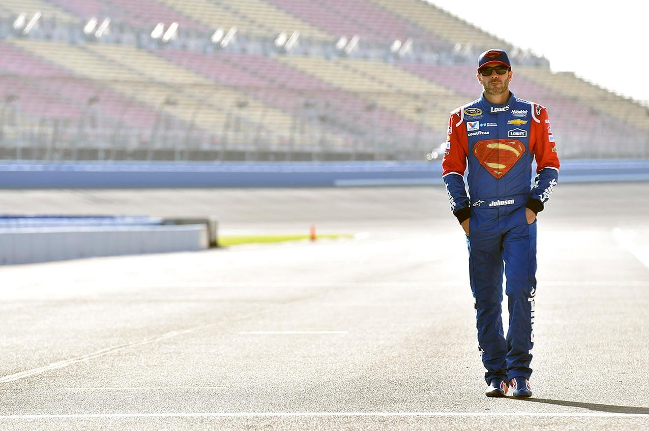 Jimmie-Johnson-walking-down-race-track