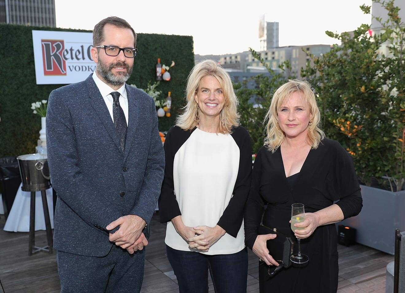 From Left, Artist Eric White President of GLAAD Sarah Kate Ellis and actor Patricia Arquette