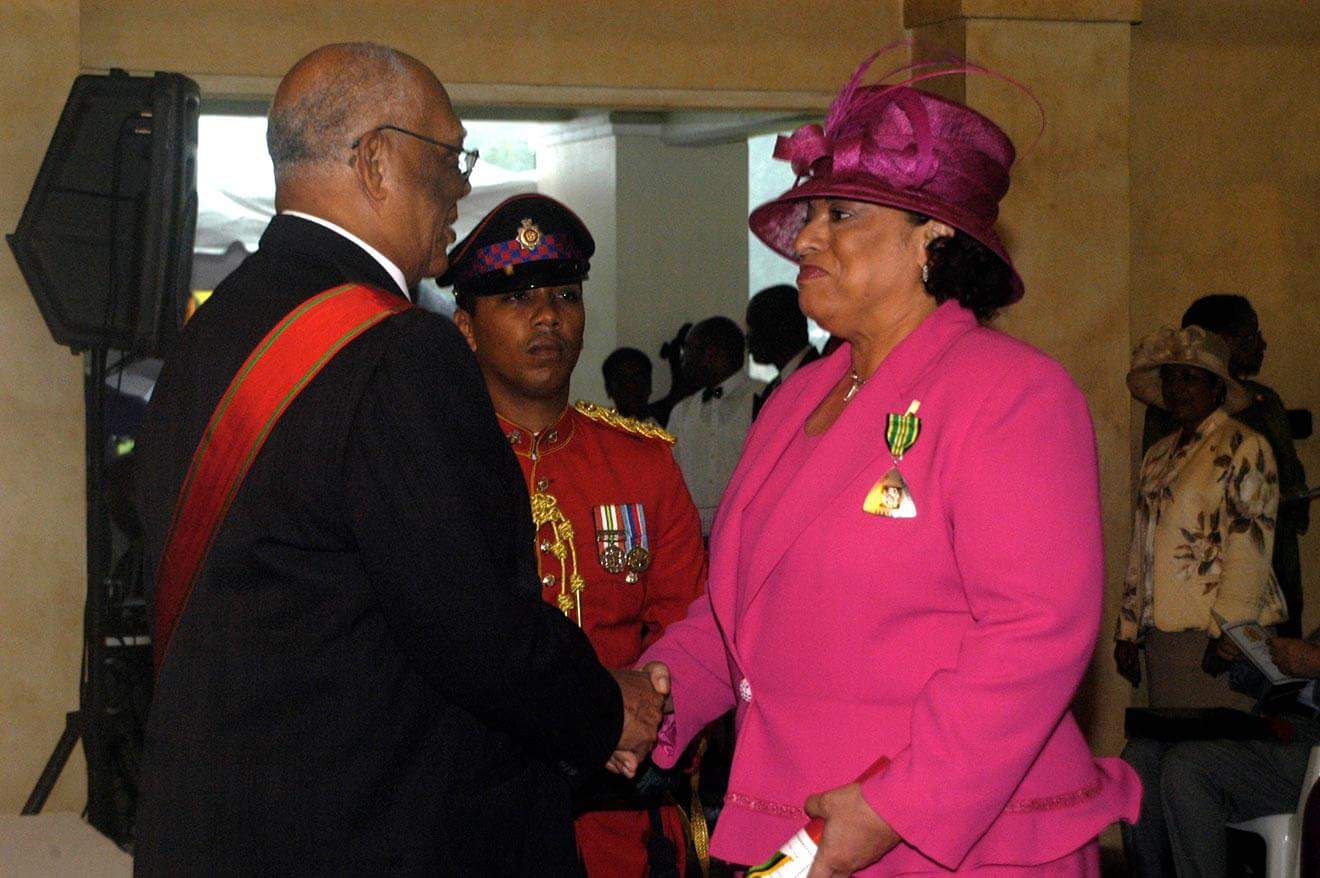Joy receiving the Order of Distinction from the Governor General of Jamaica