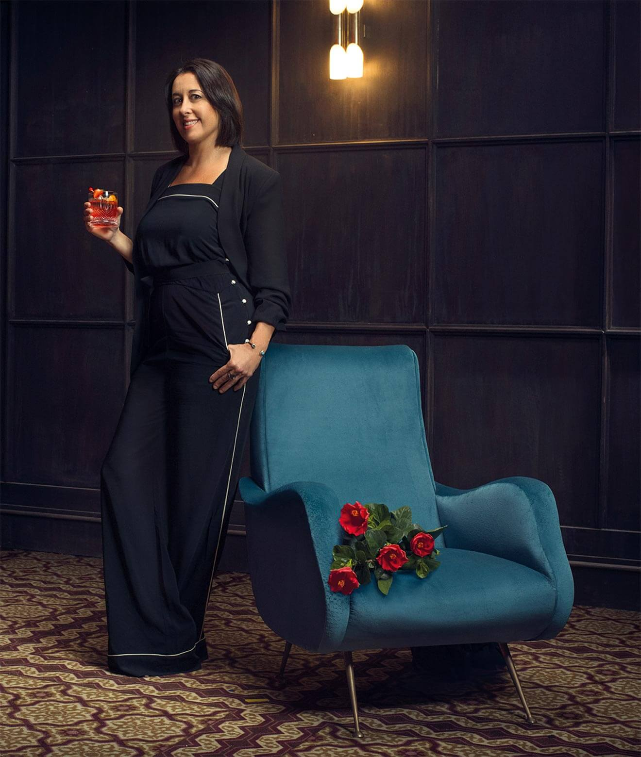 Mixologist Julie Reiner and her cocktail The Kula Negroni