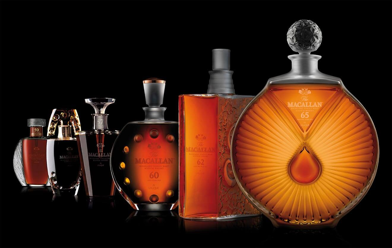 The Macallan in Lalique Six Pillars Collection Bottles