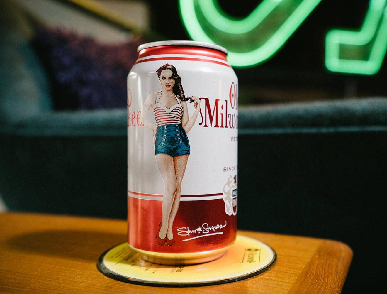 Old Milwaukee American Pin-Up Series can on coaster