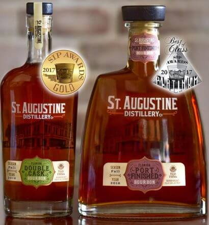 St. Augustine Distillery's Bourbon and Port Finished Bourbon Win Gold and Platinum at 2017 SIP Awards, featured image