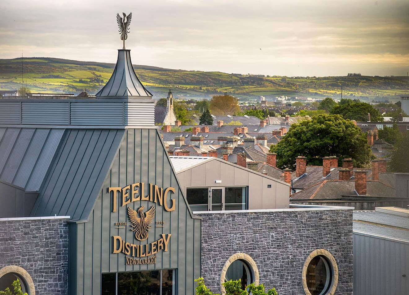 Teeling Whiskey Distillery aerial view front entrance