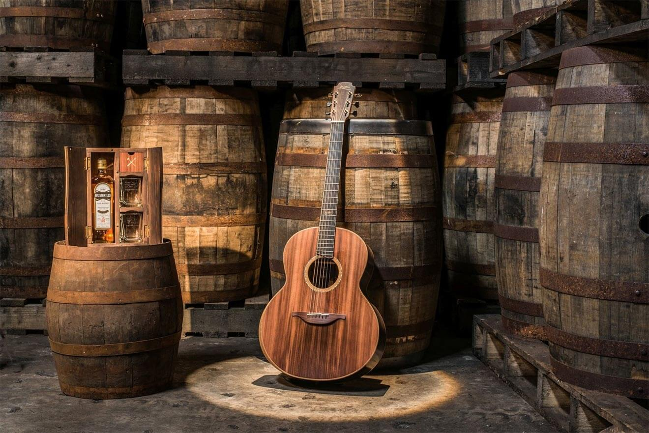 Bushmills and Lowden Guitar Made From Whiskey Barrels and Ancient Bog Oak