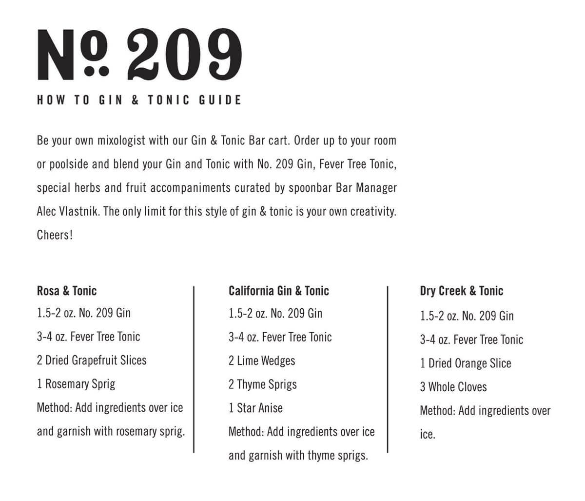 No. 209 Gin and Tonic How To Guide