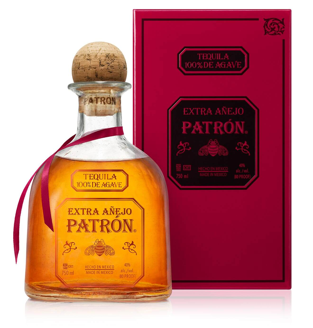 Patrón Extra Añejo Tequila, bottle and package
