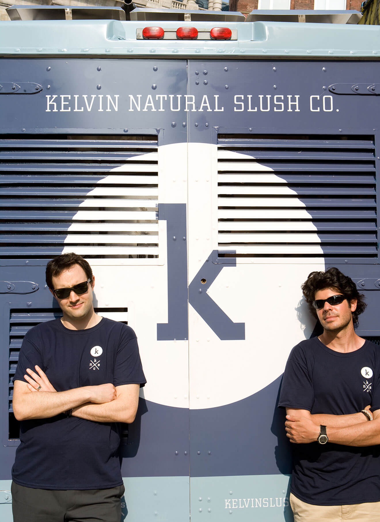 Alex Rein and Zack Silverman - Founders of Kelvin Slush Co., in front of truck